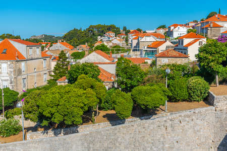 Residential houses behind the fortification of the old town of Dubrovnik, Croatia