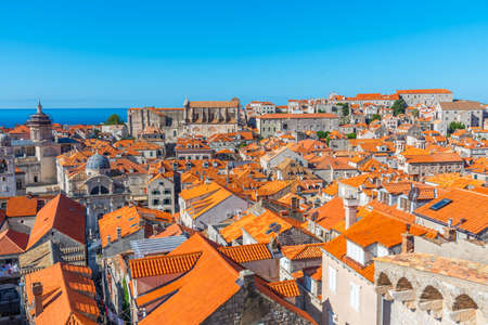 Aerial view of red rooftops of old town of Dubrovnik, Croatia