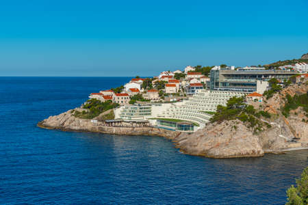 Holiday houses stretching along the shore of Croatia near Dubrovnik