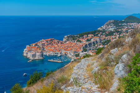 Staircase and view of the old town of Dubrovnik, Croatia
