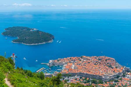 Aerial view of Croatian town Dubrovnik and Lokrum island