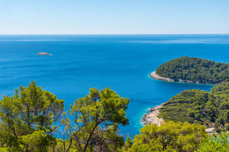 Aerial view of a bay at Soline village in Mljet national park in Croatia