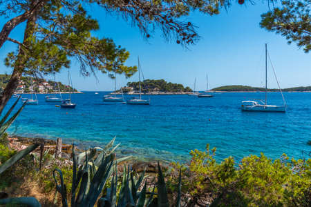 Yachts mooring in port of Hvar, Croatia