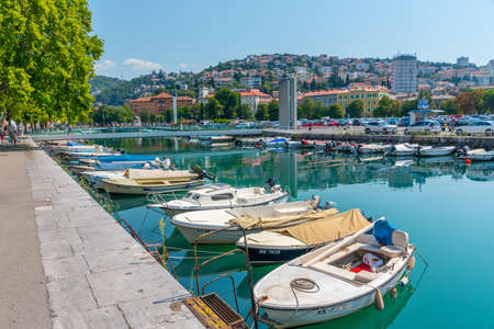 Boats mooring at Mrtvi kanal in Rijeka, Croatia