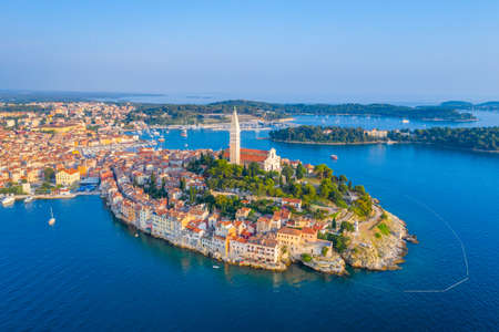 Sunset aerial view of Croatian town Rovinj Reklamní fotografie