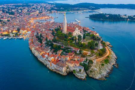 Sunset aerial view of Croatian town Rovinj