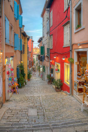 View of a pedestrian street in Rovinj, Croatia Reklamní fotografie