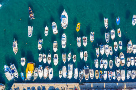Overhead shot of boats mooring in the port of Rovinj, Croatia