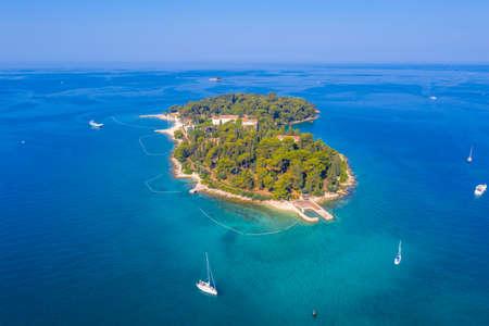 Aerial view of Sveta Katarina island near Rovinj, Croatia