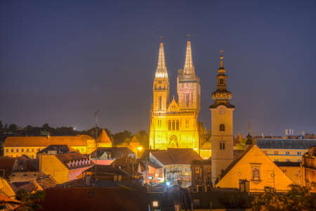 Sunset view of the cathedral of Zagreb, Croatia