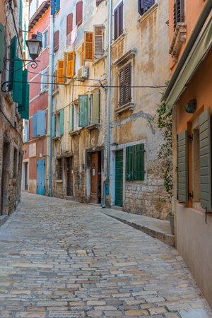 View of a pedestrian street in Rovinj, Croatia