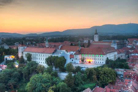 Sunset aerial view of the upper town of Zagreb, Croatia