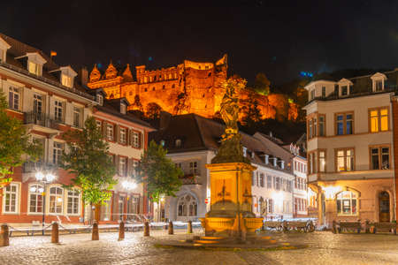 Night view of Kornmarkt at the old town of Heidelberg, Germany