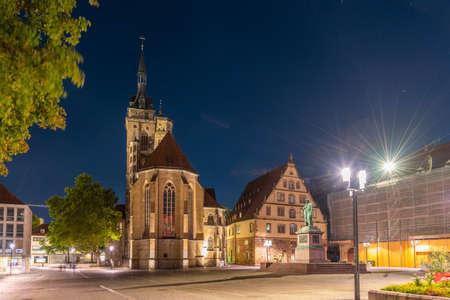 Sunset view of Stiftskirche at Schillerplatz square in Stuttgart, Germany