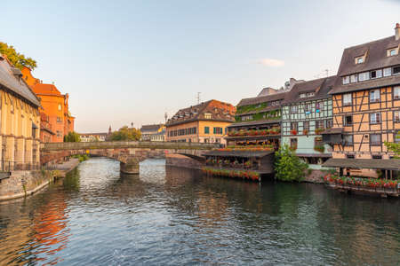 Sunset view of colorful houses at Petite France district in Strasbourg, Germany