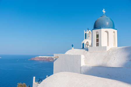 Theoskepasti church overlooking Oia town at Santorini in Greece