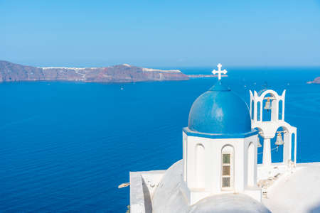 Theoskepasti church overlooking Thirasia island at Santorini in Greece