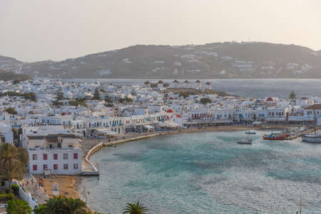 Sunset view over Mykonos in Greece