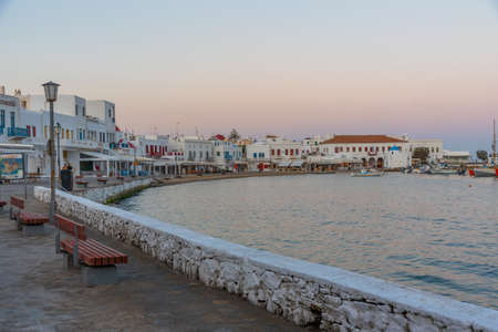 Waterfront of the old port of Mykonos in Greece