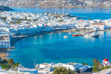 Panorama view over Mykonos in Greece