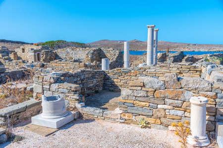 Ancient ruins at Delos island in Greece