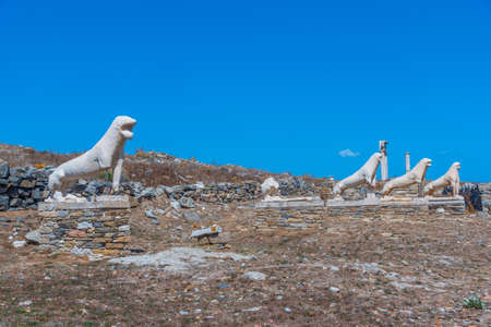 The terrace of the lions at Delos island in Greece