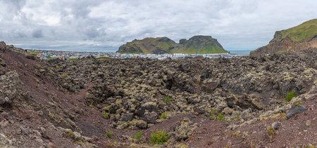 Volcanic landscape of Vestmannaeyjar archipelago of Iceland Stock fotó
