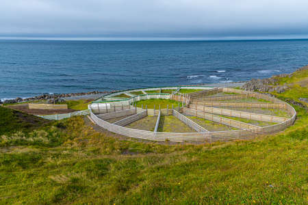 Circular wooden sheep fence on Iceland