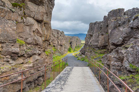Continental drift visible at Thingvellir national park in Iceland Imagens