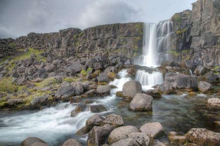 Oxararfoss waterfall at Thingvellir national park in Iceland