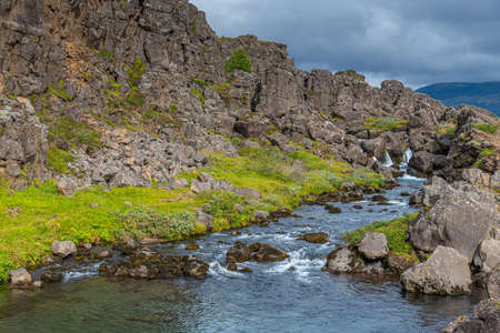 Oxara river passing through Thingvellir national park in Iceland