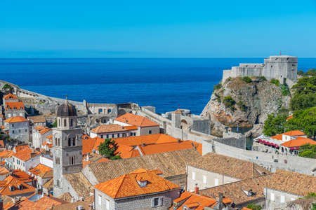Aerial view of Croatian town Dubrovnik and Lovrijenac fortress