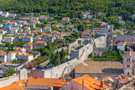 View of accesible fortification of Croatian town Dubrovnik Imagens