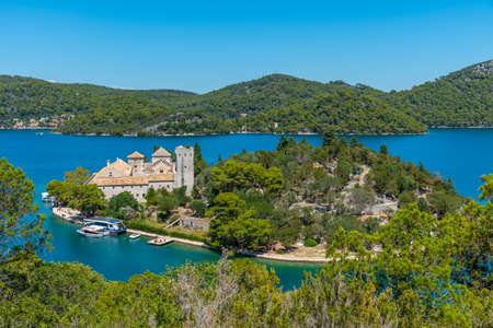 Small island with benedictine monastery of Saint Mary at Mljet national park in Croatia