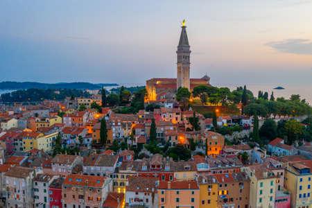 Sunset view of Saint Euphemia church in Croatian town Rovinj