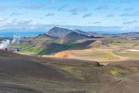 Aerial view of Krafla and Leirhnjukur on Iceland
