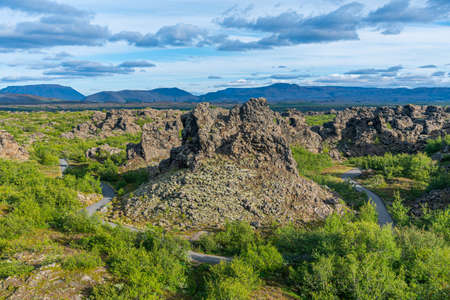 Dimmuborgir lava field situated on Iceland Imagens