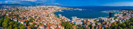 Split, Croatia, July 23, 2020: Jadrolinija ferries mooring in the port of Split, Croatia