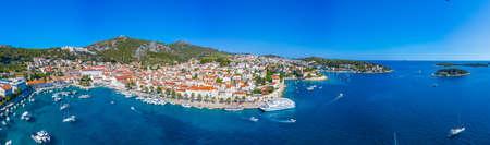 Hvar, Croatia, July 29, 2020: Aerial view of Croatian town Hvar