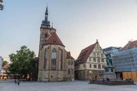 Stuttgart, Germany, September 18, 2020: Sunset view of Stiftskirche at Schillerplatz square in Stuttgart, Germany