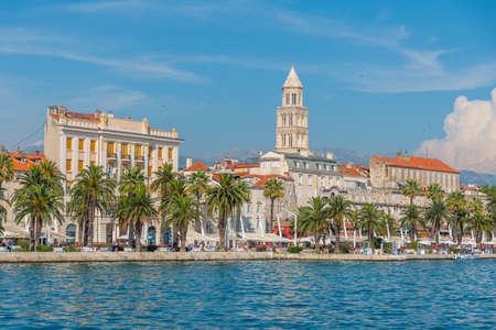 Cityscape of Croatian city Split behind Riva promenade
