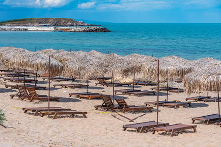 Reed parasols at Arkutino beach in Bulgaria