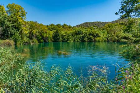 Krka river flowing through Krka national park in Croatia