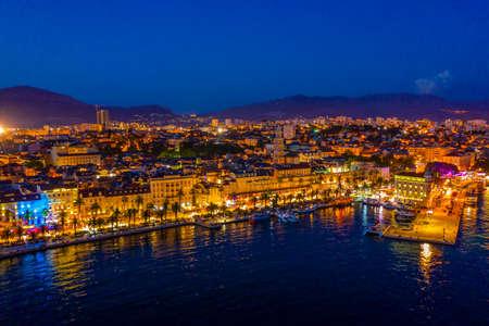 Night aerial view of Croatian city Split Reklamní fotografie