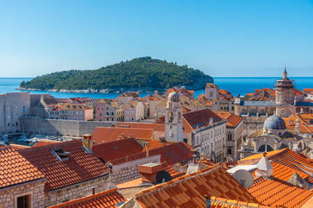Cupolas and church towers in the old town of Dubrovnik, Croatia Banco de Imagens