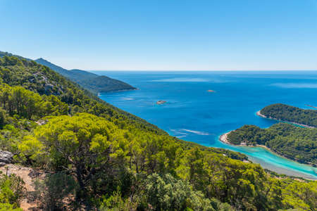 Aerial view of a bay at Soline village in Mljet national park in Croatia Archivio Fotografico