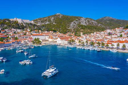 Aerial view of Croatian town Hvar