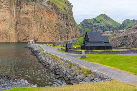 Replica of a historical stave church at a skansen at Heimaey, Iceland Imagens