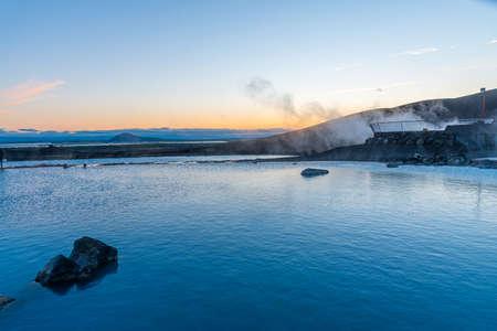 Sunset view of Myvatn nature bath, Iceland