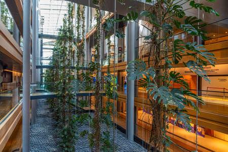 Strasbourg, France, September 22, 2020: Interior of the European parliament building in Strasbourg, France